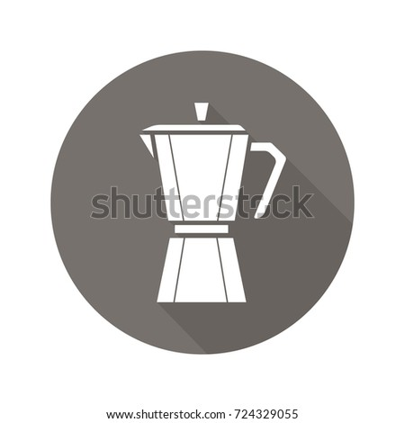 Moka pot flat design long shadow glyph icon. Classic coffee maker. Raster silhouette illustration