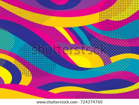 Creative geometric colorful bright background with patterns. Collage. Design for prints, posters, cards, etc. Vector. Royalty-Free Stock Photo #724374760
