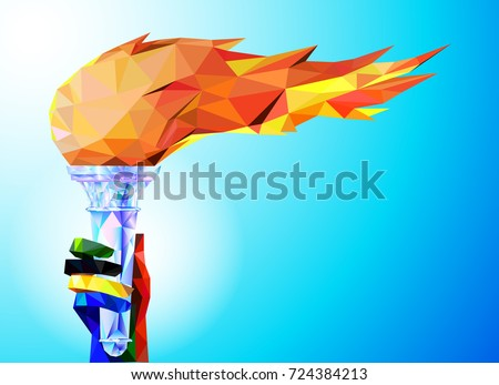 Torch, Flame. A hand from the Olympic ribbons holds the Cup with a torch on a blue background in a geometric triangle Olympic games, Tokyo 2020.