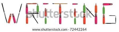 Writing word made of different type of writing tools #72442264