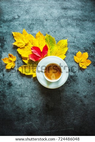 The cup of coffee with yellow leaves on a concrete background #724486048