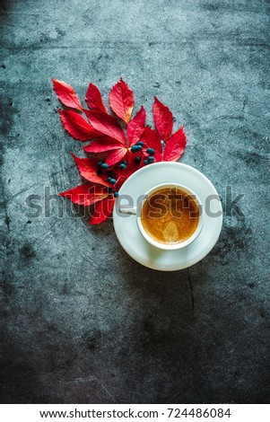 The cup of coffee with red leaves on a concrete background #724486084