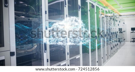 Composite image of glowing cloud and connecting lines against view of data technology #724512856