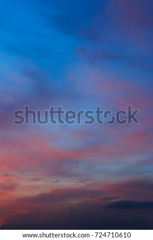 beautiful colorful sky and cloud in twilight time background #724710610