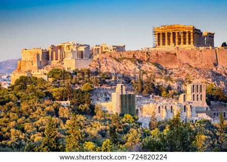 Athens, Greece. Acropolis, ancient ruins of Greek Civilization citadel with Parthenon temple. #724820224