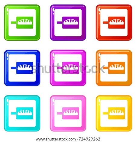 Bread baking icons of 9 color set isolated  illustration #724929262