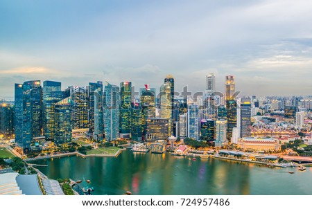 Singapore - March 28, 2017 : City view from on Sands Sky park Marina Bay Sands in Singapore. #724957486
