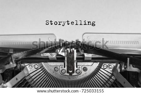 Storytelling typed words on a Vintage Typewriter. #725033155