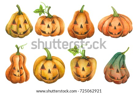 collection pumpkins halloween watercolor illustration set white background