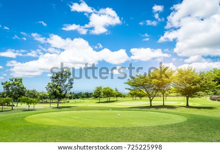 Golf course with blue sky background. #725225998