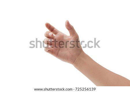 a hand holding something like a bottle or smartphone on white backgrounds, isolated Royalty-Free Stock Photo #725256139
