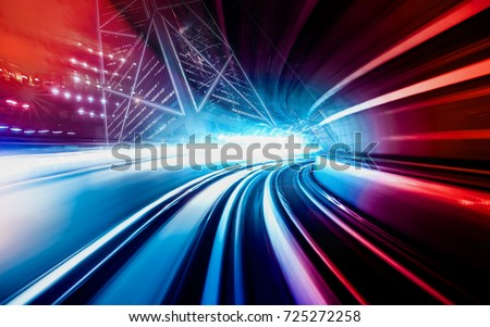 Abstract motion speed railway tunnel with city background  #725272258