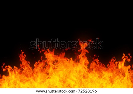 Rendered image of a raging fire on black