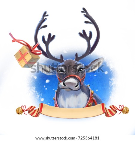 Christmas reindeer with a gift #725364181