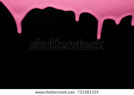 Pink paint running drops on black background. Pink spray. Dripping blood seamless repeatable. Background. Halloween. Flow liquid, drip wet.