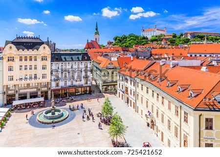Bratislava, Slovakia. View of the Bratislava castle, main square and the St. Martin's Cathedral. #725421652