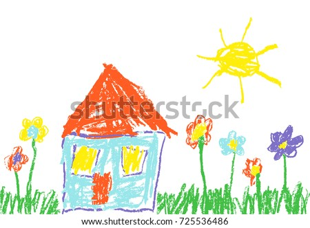 Wax crayon like child's hand drawn house, grass, colourful flowers and sun. Pastel chalk like kid`s hand painting cute spring and summer meadow. Vector pastel chalk background banner.