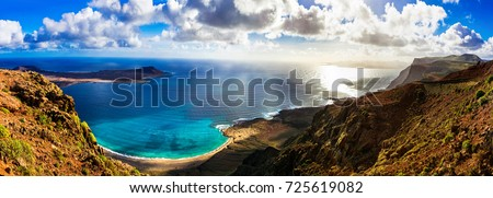 beautiful volcanic island Lanzarote - panoramic view from Mirador del rio. Canary islands Royalty-Free Stock Photo #725619082
