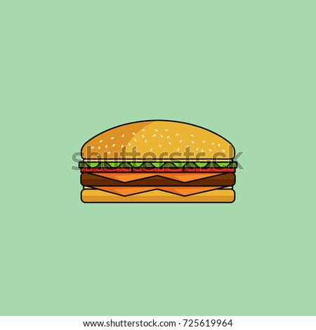Cute cartoon cheeseburger with double cheese. Burger with salad, tomatos, cutlet. Minimal line style, modern color. Burger/gamburger web icon. Design element for your project. Clip art illustration.