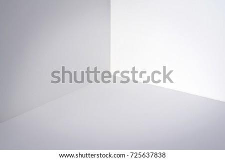 Empty white corner. Minimalistic space concept