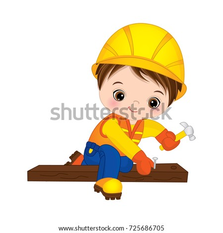 Vector cute little boy hammering nails. Vector construction. Little builder vector illustration