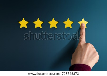 Customer Experience Concept, Best Excellent Services Rating for Satisfaction present by Hand of Client pressing Five Star Royalty-Free Stock Photo #725746873