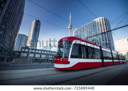 Street Cars during in Toronto city, Canada Royalty-Free Stock Photo #725889448