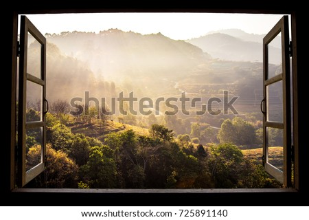 landscape nature view background. view from window at a wonderful landscape nature view with space for your text in Chiangmai, Thailand , Indochina #725891140