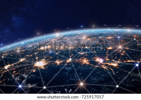 Global world telecommunication network with nodes connected around earth, concept about internet and worldwide communication technology, image from space furnished by NASA Royalty-Free Stock Photo #725917057