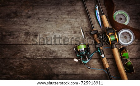 Fishing tackle background. Royalty-Free Stock Photo #725918911