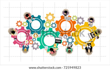 Flat design illustration concepts for business analysis and planning, consulting, team work, project management, financial report and strategy . Concepts web banner and printed materials. Royalty-Free Stock Photo #725949823