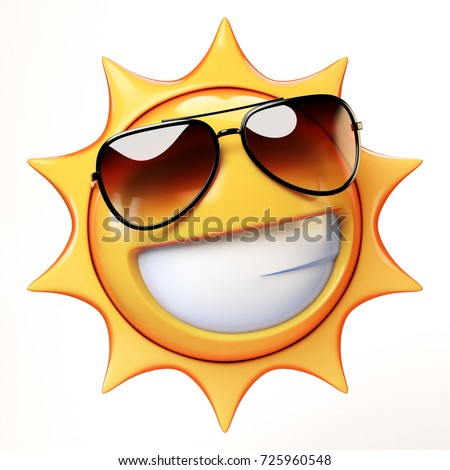 Cartoon sun with sunglasses emoji isolated on white background, sunshine emoticon 3d rendering