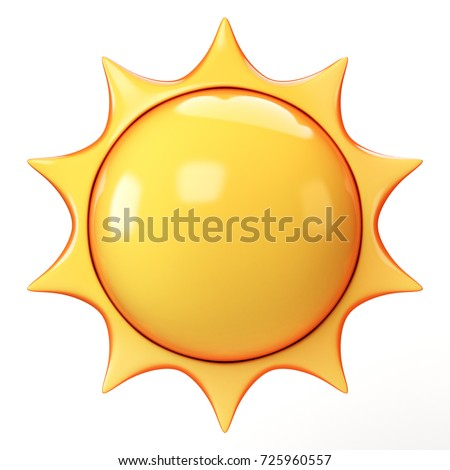 Cartoon sun 3d rendering