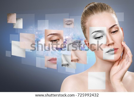 Woman's face collected from different parts. #725992432