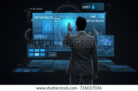 business, people, big data and technology concept - businessman working with virtual reality screens from back over black background #726037036