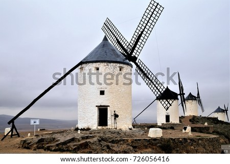 Nobody but the famous heritage of windmills in the hilltop of Consumers, Toledo, Spain. Jan. 18, 2015 #726056416