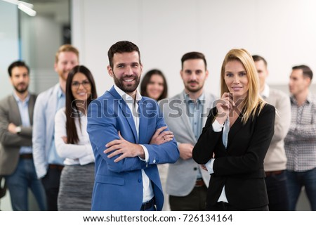 Successful team of young perspective businesspeople in office #726134164