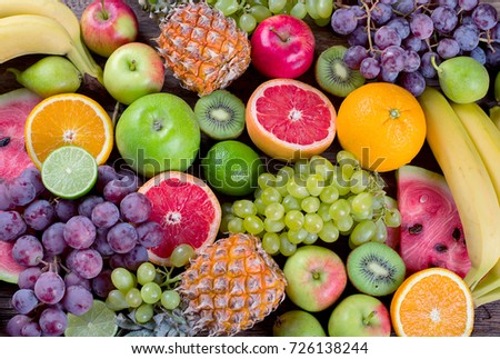 Fruits background. Healthy diet food concept. Top view. #726138244