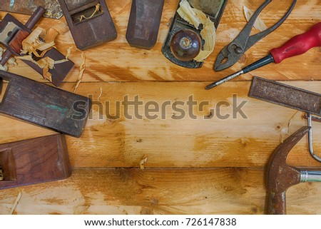 Carpenter tools for workshop handmade at home. #726147838
