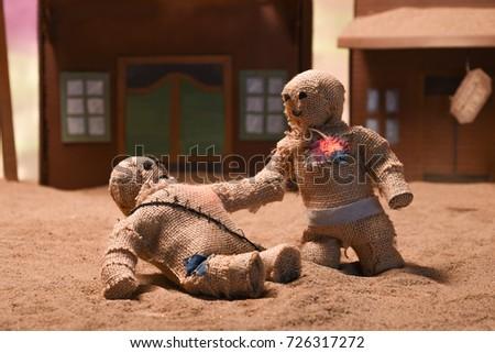 Stop Motion Burlap Puppets #726317272