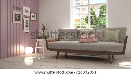 Idea of white room with armchair and summer landscape in window. Scandinavian interior design. 3D illustration #726332851
