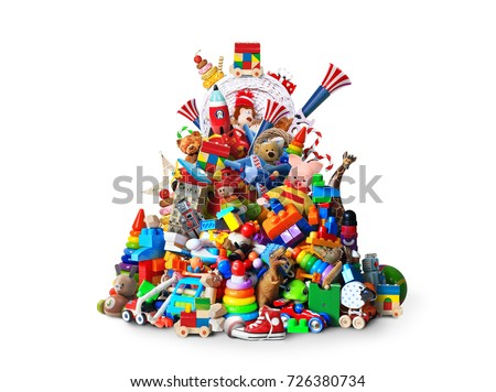 Huge pile of different and colored toys Royalty-Free Stock Photo #726380734