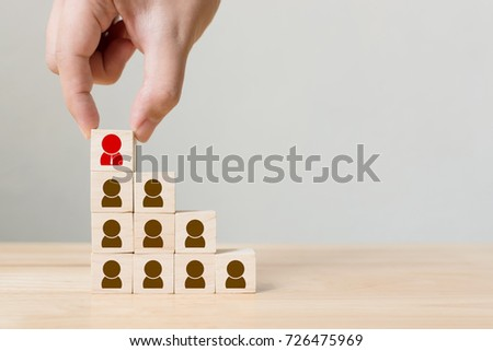 Human resource management and recruitment business concept, Hand putting wood cube block on top staircase, Copy space #726475969