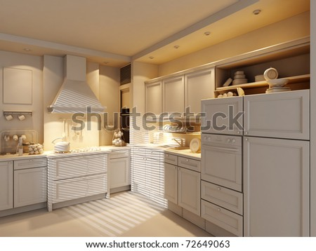 3d clay render of a modern kitchen #72649063