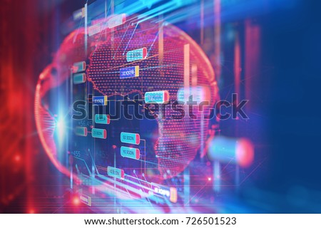 Abstract  Futuristic infographic with Visual data complexity , represent Big data concept, node base programming  #726501523