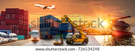 Logistics and transportation of Container Cargo ship and Cargo plane with working crane bridge in shipyard at sunrise, logistic import export and transport industry background #726534298