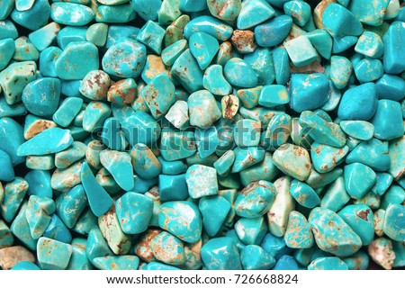 Turquoise mineral raw background, beautiful blue calaite stone texture Royalty-Free Stock Photo #726668824