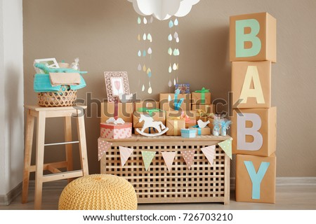 Gifts and decorations for baby shower indoors Royalty-Free Stock Photo #726703210