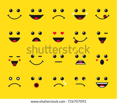 Set of emoticons or emoji illustration line icons. Smile icons line art isolated vector illustration on yellow background. Concept for World Smile Day smiling card or banner Royalty-Free Stock Photo #726707092