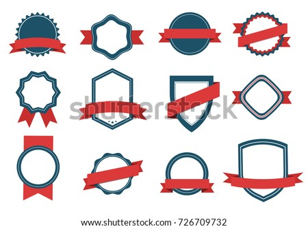 Vector set Badge, Ribbons  and  Labels. Design elements Royalty-Free Stock Photo #726709732